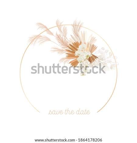 Boho floral wedding vector frame. Watercolor pampas grass, orchid flowers, dry palm leaves border template for marriage ceremony, minimal invitation card, decorative summer banner