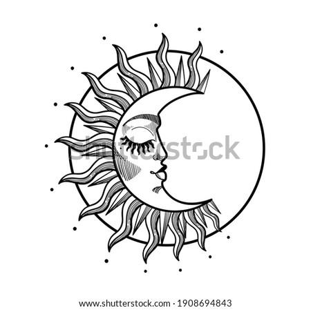 Boho illustration, stylized vintage design, sleeping crescent moon with face, stylized abstract illustration. Mystical element for design, logo, tattoo. Vector illustration isolated on white backgroun