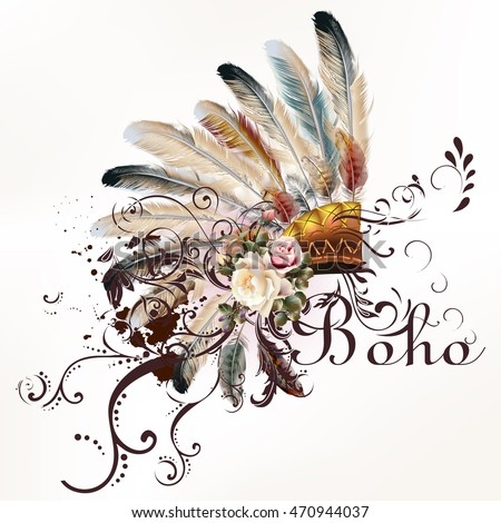 Boho illustration with headdress from feathers tribal vector background. Ideal for T-shirt prints