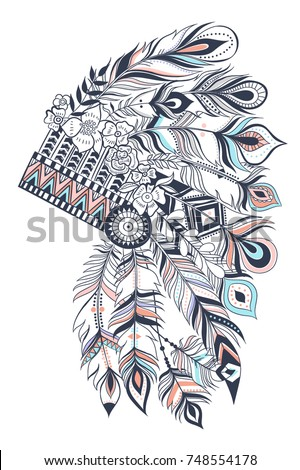 Stock Photo Boho illustration with headdress from feathers, tribal vector background. Ideal for T-shirt prints