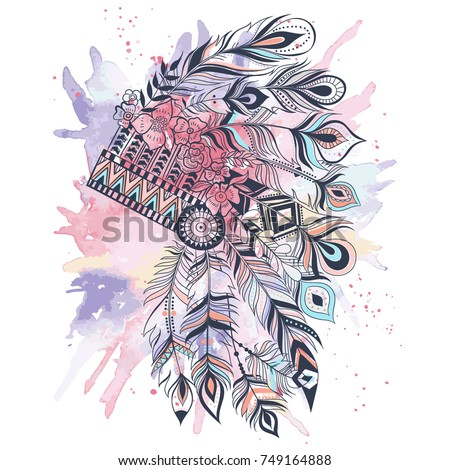 Boho illustration with headdress from feathers, tribal vector background. Ideal for T-shirt prints