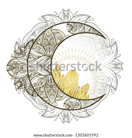 Boho illustration with moon and crystals. Tattoo art style. Astrology and alchemy vibes.