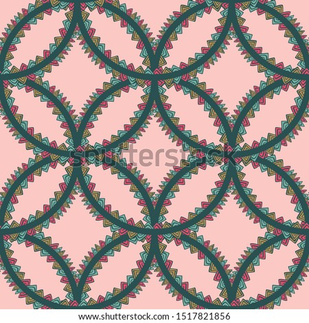 Boho interlocking circles with fun bunting triangles for fabric, wallpaper, backgrounds or scrapbooking projects. surface pattern design.
