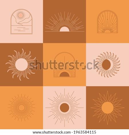 boho linear sun  arch  arc set