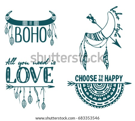 Boho Logo Hand Drawn Design Elements Set Wild Style Labels With Arrows