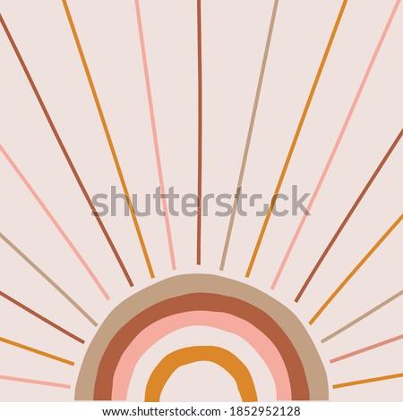 Boho magic rainbow sun and rays background. Trendy abstract geometric solar shape backdrop. Earthy colour palette. Vector Illustration for bohemian design