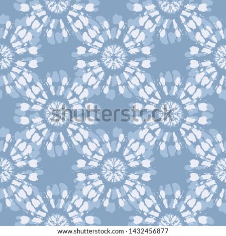 Boho Monochrome Jean Blue Tie-Dye Shibori Mirrored Sunburst Mandala Background Vector Seamless Pattern. Perfect for Spring-Summer Textiles, Stationery