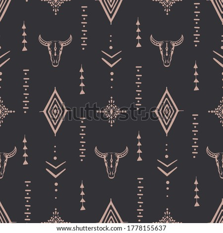 Boho seamless pattern bull skull with horns & ethnic arrangement on  background. Minimalist objects one line style. Vector Illustration.  Stock fotó ©