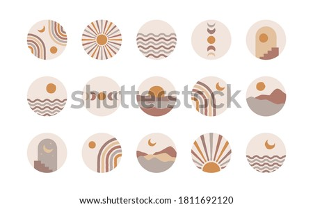 Boho social media highlight covers. Abstract stories contemporary style, sun moon story round icons, vector mid century illustration. Photo stock ©