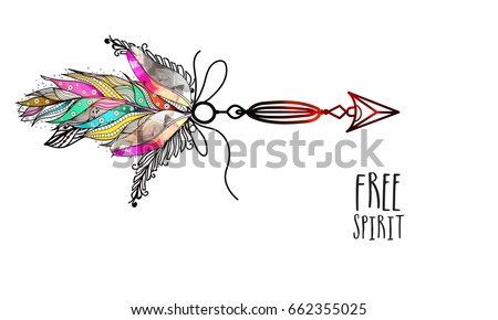 Boho Style Glossy Arrow With Colorful Ornamental Feathers Creative Hand Drawn Ethnic Element