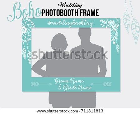 Boho Style Photobooth Wedding Frame With Hashtag For Sharing The Photo Blue White Vector Template