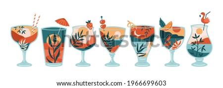 Boho summer cocktail set. Abstract landscape background in cocktail glasses. Summer template for poster, banner or greeting card design