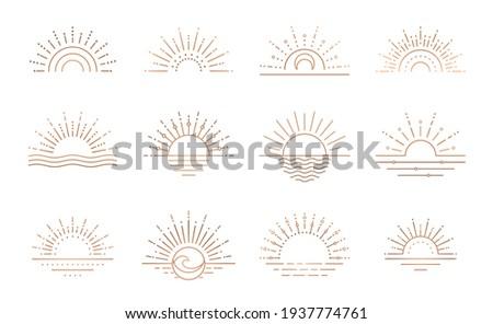 Boho sunrise logo, sun line art vector. Sunset stock vector logo design