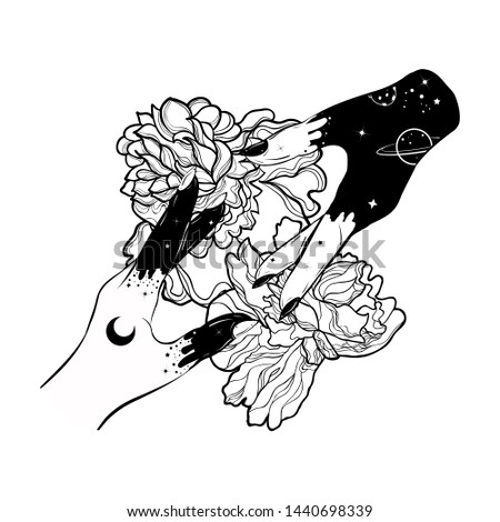 Boho tattoo with hands and peony flowers