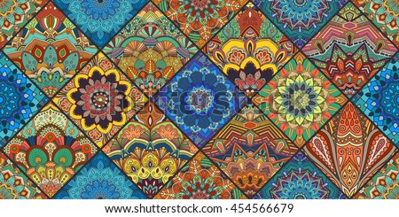 Boho Tile Seamless Pattern Background Colorful Patchwork For Fabric Print Furniture Wallpaper Fashionable