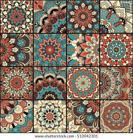 Boho tile set and seamless pattern. Blue brown patchwork fabric, furniture print, wallpaper, fashionable textile. Square design elements. Unusual flower ornament. Vector oriental mandala background.