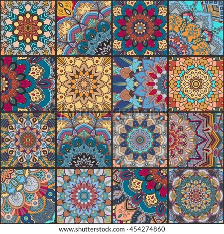 Boho tile set and seamless pattern. Blue orange patchwork fabric, furniture print, wallpaper, fashionable textile. Square design elements. Unusual flower ornament. Vector oriental mandala background.