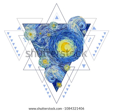 Boho triangle with inside a starry sky with glowing yellow moon isolated on white background. Vector illustration in the style of impressionist paintings.