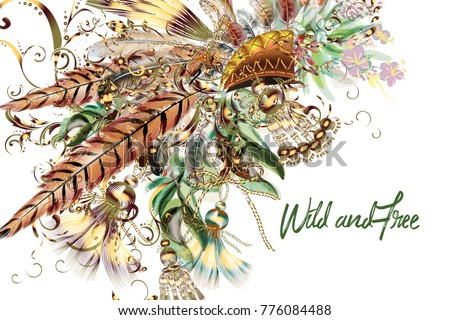 Boho tribal botanical background with field flowers and feathers. Fashion vector illustration