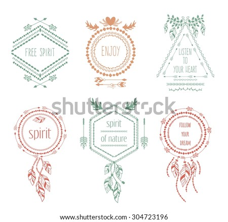 Boho tribal hipster labels set. Ornament vintage symbol element, decoration drawing collection, vector illustration