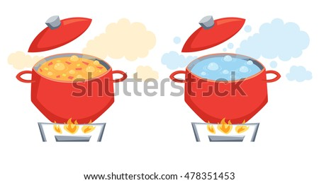 Boil water and soup in pot on stove. Cooking process vector illustration. Kitchenware and utensils isolated on white. Vegetables in pot on gas stove
