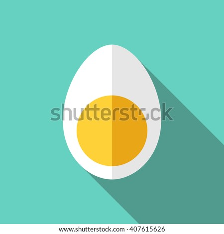 boiled chicken egg cut in half