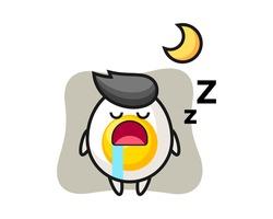 Boiled egg character illustration sleeping at night