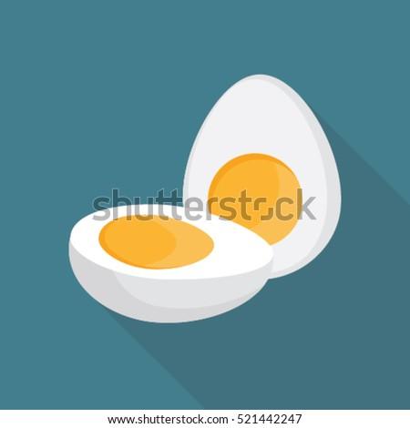 boiled egg cut into half flat