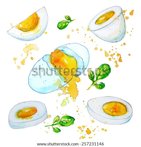 boiled egg each item on a