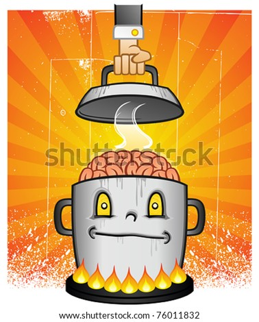 Boiling Pot Of Brain Cooking On A Stove