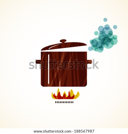 boiling pot on fire vector