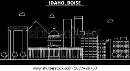 Boise silhouette skyline. USA - Boise vector city, american linear architecture, buildings. Boise travel illustration, outline landmarks. USA flat icon, american line banner