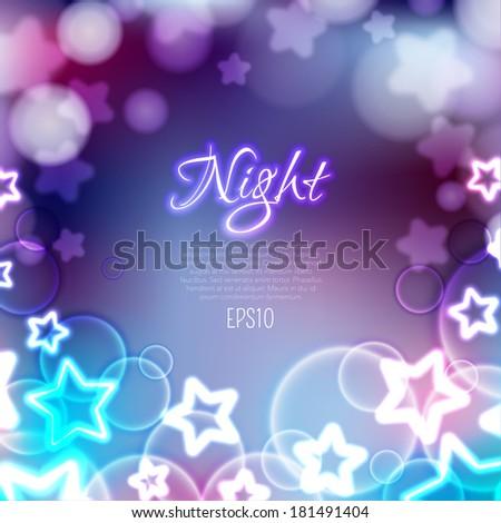 Bokeh background template. Fantasy magic night wallpaper.