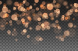 Bokeh lights effect isolated on transparent background. Vector Christmas glowing golden bokeh confetti and spark overlay texture for your design.
