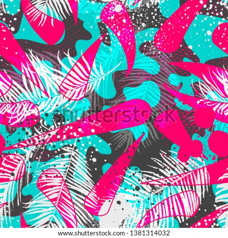 Bold abstract jungle print with silhouette of paradise island foliage. Vector seamless floral pattern inspired by tropical nature and plants with shape of palm leave and trees. Summer background