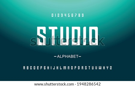 Bold Abstract strong techno, sci fi sport display style font, abstract geometric clean letter set slab serif prost typeface Zdjęcia stock ©