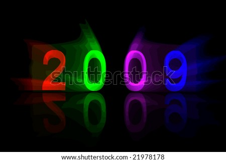 Bold and colorful '2009' vector with 3D, reflection, and lighting effects.