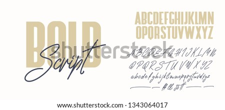 Bold and script alphabets. Vector font duo.