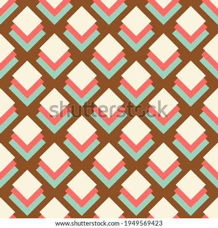 Bold Colorful Small Scale Optical Geo Small Squares Vector Seamless Pattern. Retro 70s Style Nostalgic Fashion Textile Background. Summer Resort Print. Micro Geometric Texture Foto stock ©