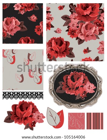 Bold floral rose vector repeat patterns.  Use to create stunning fabric projects or digital paper or other paper craft items. - stock vector