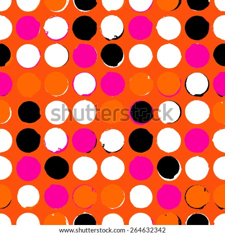 Bold geometric pattern with randomly colored circles in pink orange black and white colors Vector seamless texture in vintage 1960s fashion style Modern hipster background with dots