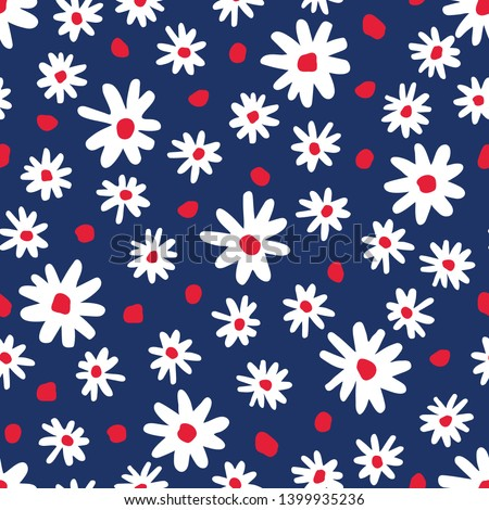 Bold graphic abstract daisies floral vector seamless pattern. Simplistic hand drawn colourful blooms on navy blue background. Retro minimal stylized flowers and dots print. Photo stock ©