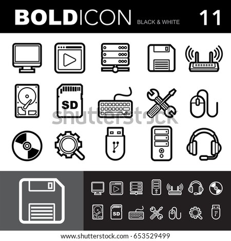 Bold line icons ,Computer set.Illustration eps 10