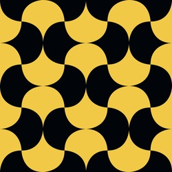 Bold minimalistic seamless pattern. Repeating geometric yellow arc shapes tessellation. Abstract vector background design.