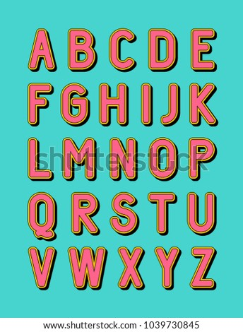 Bold modern uppercase alphabet with shadow