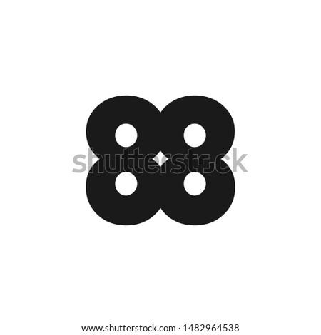 Bold 88 number logo design black color
