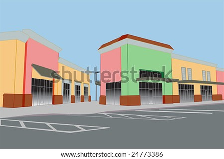 bold pastel colored strip mall with awnings
