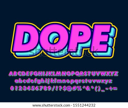 Bold pop art text effect with simple color design for pop music and arts, poster banner and flyer design