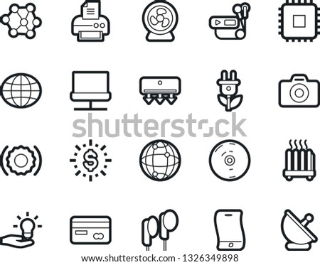 Bold Stroke Vector Icon Set - credit card vector, world, photo camera, neural network, nuclear fusion, chip, idea, dollar shine, green energy, flexible phone, cd, audio player, earphones, connection #1326349898
