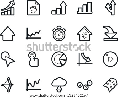 Bold Stroke Vector Icon Set - growth chart vector, crisis graph, document workflow, arrow cursor, stopwatch, bow, dollar, down, touch, point, circle, fast forward button, download, cloud upload #1323402167